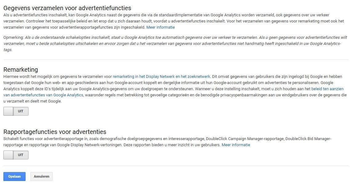 Google Analytics Advertentiefuncties