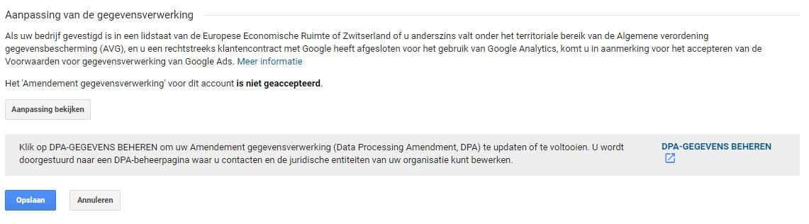 Screenshot van Google Analytics Amendement Gegevensverwerking