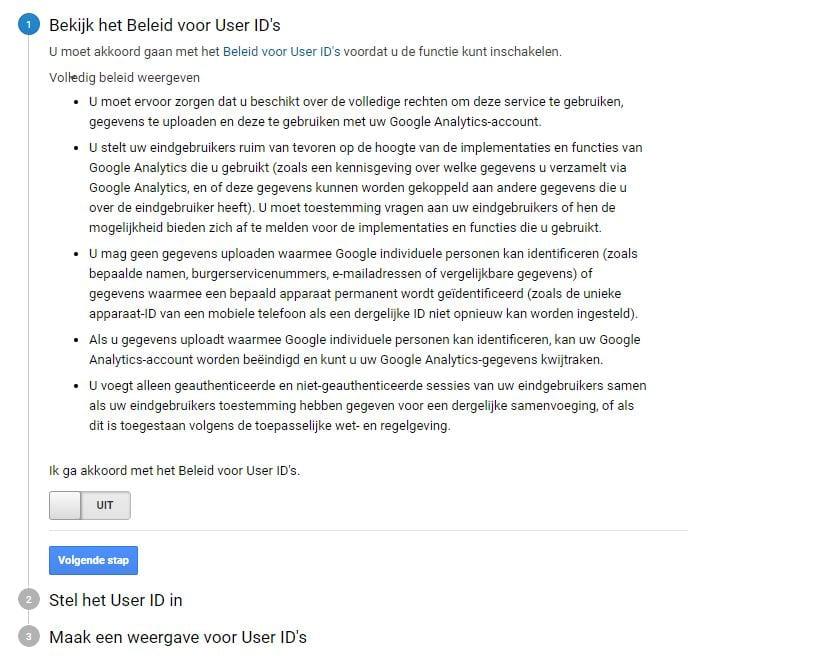 Google Analytics Beleid User ID