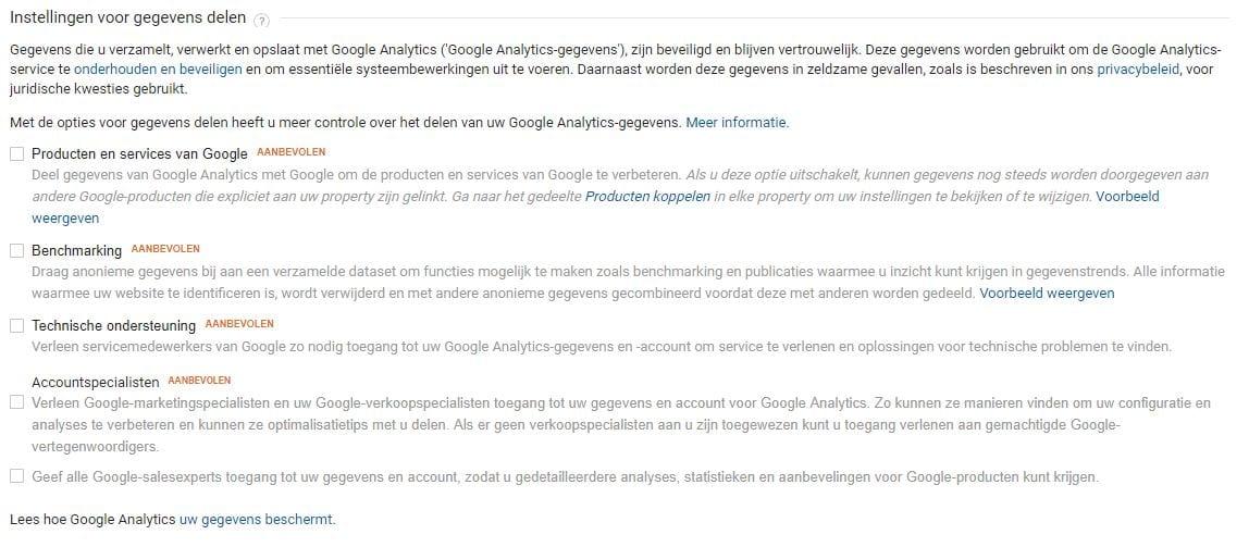 Google Analytics Instellingen voor gegevens delen
