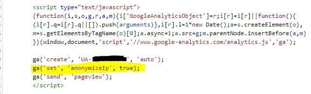 Voorbeeld oude Trackingscript met anonymized IP