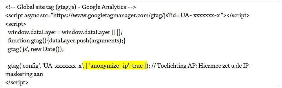 voorbeeld trackingcode google analytics anonymize IP